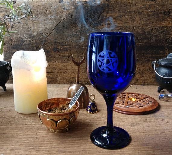 Pentagram Chalice, Witch's Pentagram Chalice, Blue Chalice with Etched Pentagram, Deep Blue Witch's Pentagram Chalice