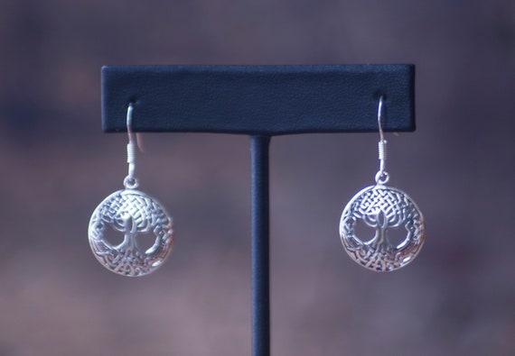 Sterling Silver Celtic Tree of Life Earrings, Celtic Silver Earrings, Green Witch Earrings