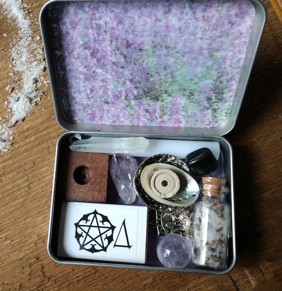 Lavender Themed Travel Altar, Pocket Altar, Witchy Mini Altar, Purse Altar, Miniature Altar, Altar in a Tin, Purple Altar