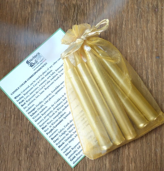 Gold Chime Candles, Chime Ritual candles, Candle magic, witchcraft candles, witchcraft tools, chime spell candles, Litha Candles