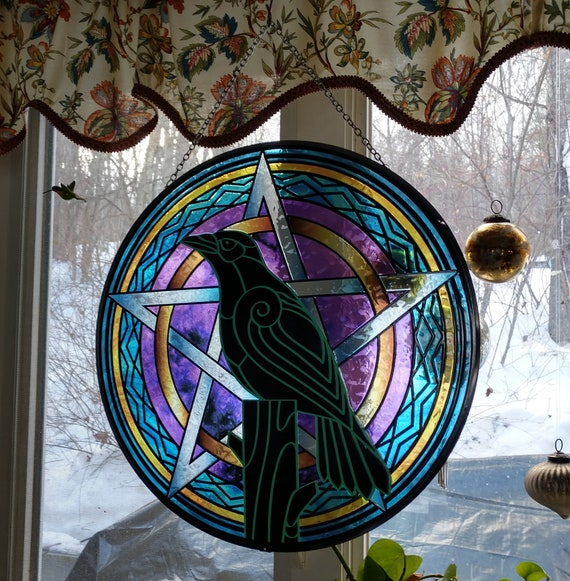 CLOSEOUT 25% Off: Raven and Pentacle Stained Glass, Witchy Window Hanging, Witch's Stained Glass Decor, Witchy Suncatcher