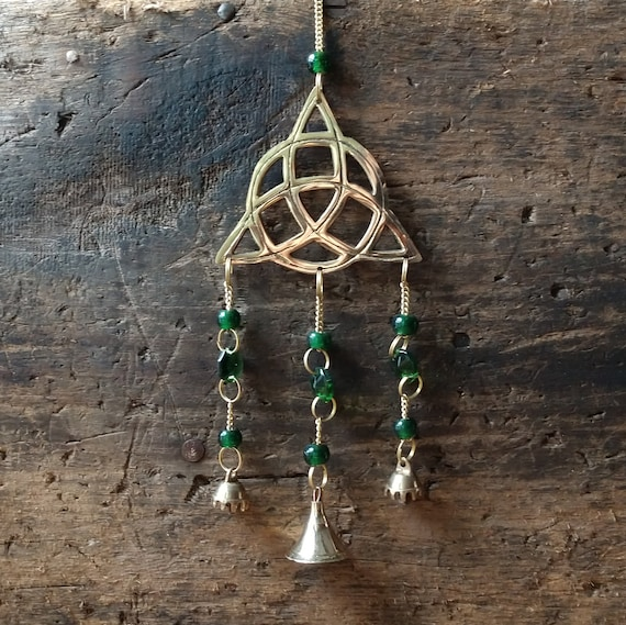 Witch's Wind Chime, Triquetra Wind Chime, Triquetra Bell Chime, Green Wind Chime, Brass Wind Chime, Pagan Wind Chime