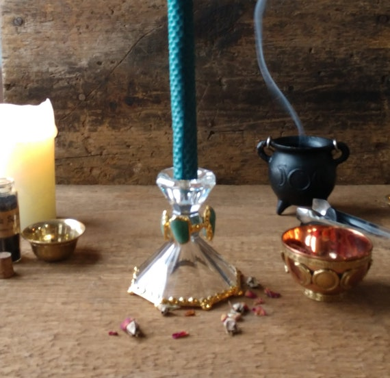 Witch's Candle Holders, Stone Candle Holders, Crystal and Aventurine Candle Sticks, Gold Plated Candle Holders Handmade