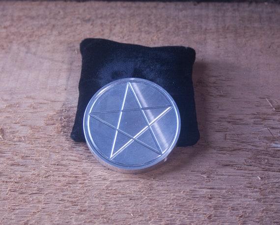 Aluminum Pentagram, Etched Metal Pentagram, Pentagram Altar Tile