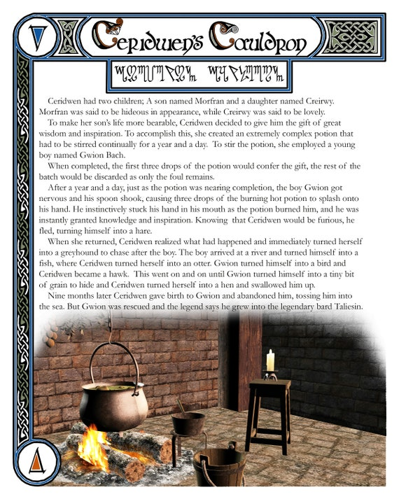 Ceridwen's Cauldron Book of Shadows Page, Grimoire Art Page, Witch's Grimoire Page for Ceridwen's Cauldron