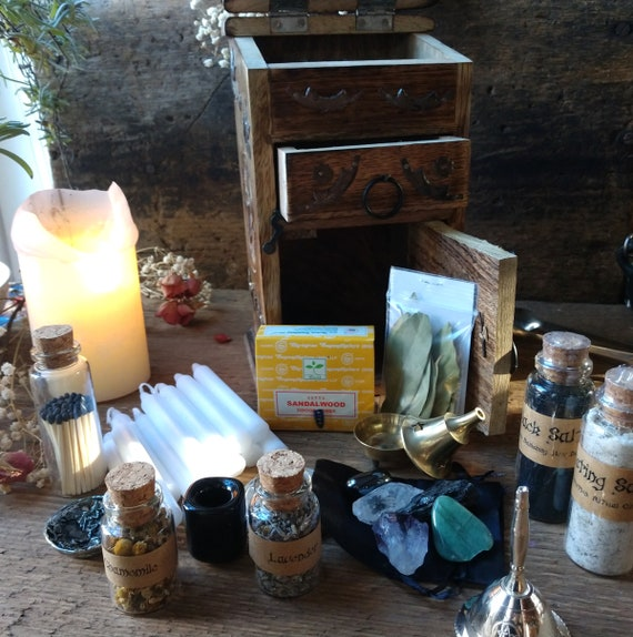 Witch's Altar Kit, Pentagram Chest, Loaded Altar Kit, Witches Altar Set up, Witchy Altar Box, Loaded with Goodies!