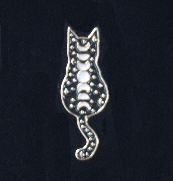 Gold and Black Cat with Moon Phases Enamel Pin, Enamel Witchy Pin, Moon Phases Cat PIn, Lapel Pin, Witches Pin, Witchy Enamel Pin