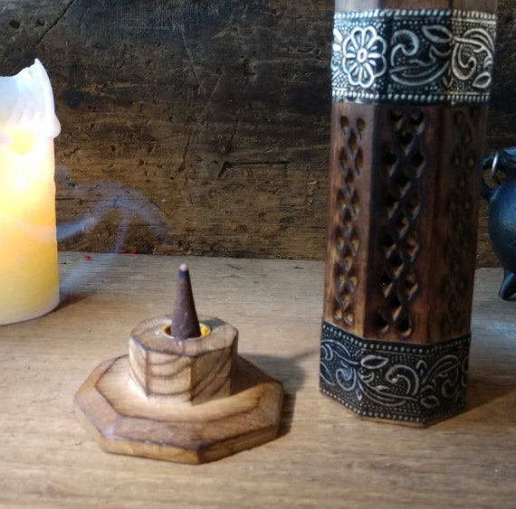 Tower Incense Burner with Choice of Incense, Wooden Incense Tower Start Set, Indian Carved Incense Tower with Choice of Incense