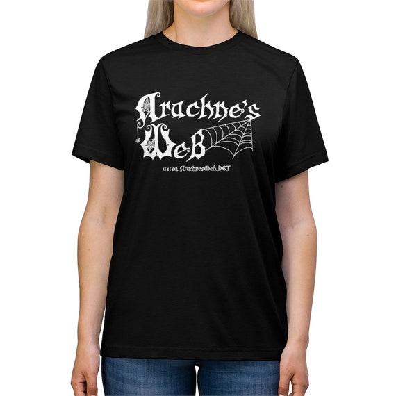 Arachne's Web Tee, Unisex Black Arachne's Web Shirt, Arachne's Logo T-Shirt