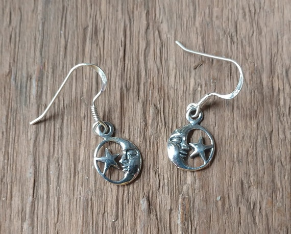 Small Moon and Star Earrings, Sterling Silver Earrings, Silver Celestial Earrings