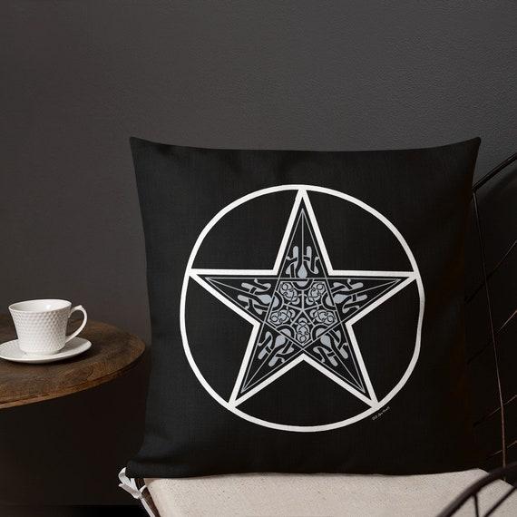 Celtic Pentagram Premium Decor Pillow, Witchy Home Decor, Witch's Toss Pillow, Pentagram pillow, Pentacle Pillow, Witch's Pillow