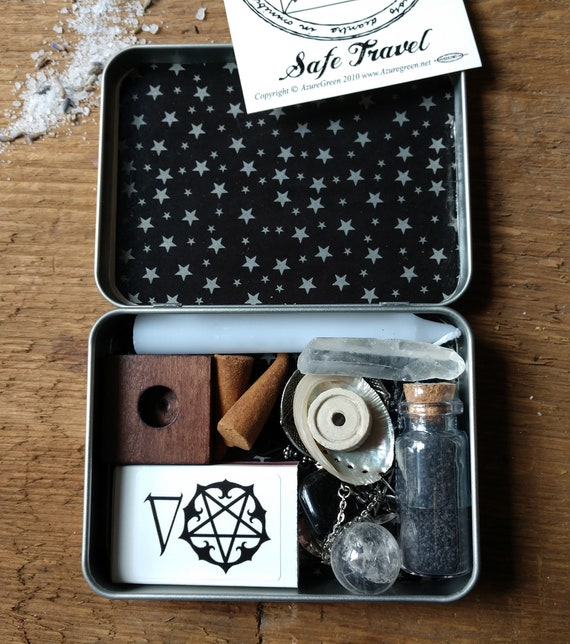 Dark Themed Travel Altar, Pocket Altar, Witchy Mini Altar, Purse Altar, Miniature Altar, Altar in a Tin, Hecate Witchy Altar