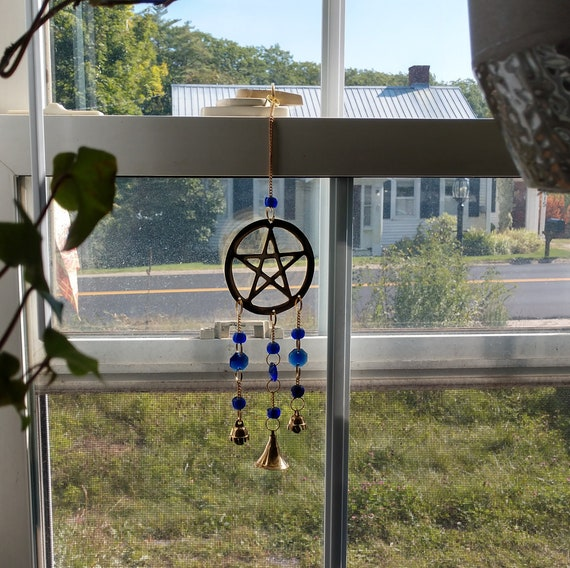 Witch's Wind Chime, Pentagram Wind Chime, Pentagram Bell Chime, Blue Wind Chime, Brass Wind Chime, Pagan Wind Chime