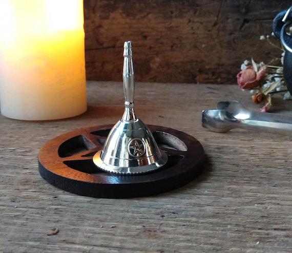 Silver Altar Bell, Small Altar Bell, Pentagram Altar Bell, Witch's Altar Bell, Magic Circle Bell