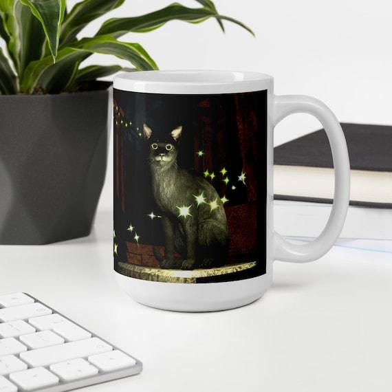 Original Art Mug by Marcel R. Dion, 'Magic' art mug, unique art coffee cup, Witch with Black Cat Coffee Mug, Witch's Tea Cup, Witchy Mug