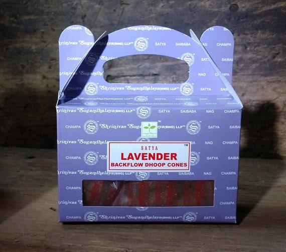 Lavender Backflow Incense, Waterfall Incense Cones, Satya Lavender Incense for Backflow Burners