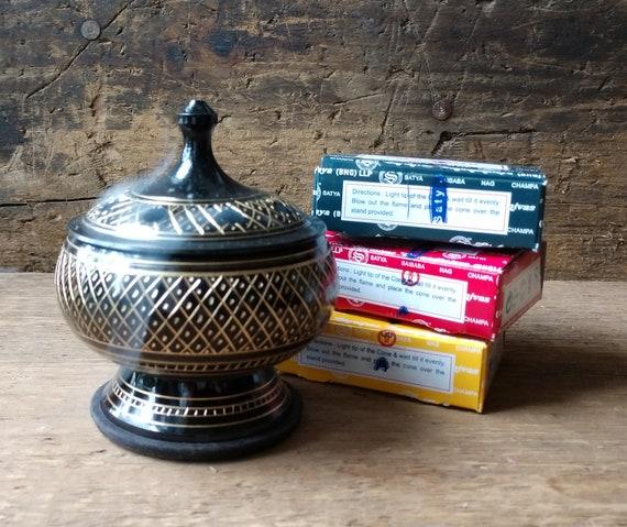 CLOSEOUT 25% Off! Incense and Burner, Incense Kit, Cone Incense Kit, Starter Kit, Cone Incense Sampler with Carved Brass Burner