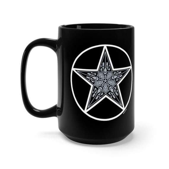 Witchy Mug, Witch's Coffee Cup, Pagan Cup, Pentagram Mug, Celtic Pentagram Mug, Black Pentagram Mug 15 oz