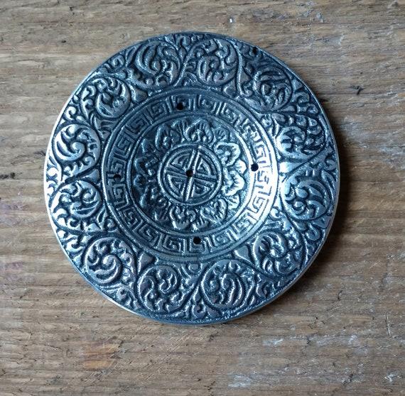 Tibetan Incense Burner, Patterned Tibetan Metal Incense Burner, Tibetan Stick Burner