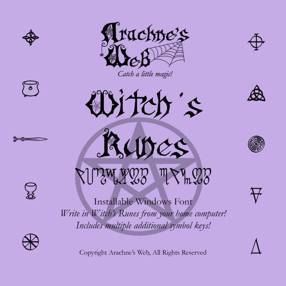 Installable Witch's Runes Font, Witches Runes Font, Windows Font of Witches Runes