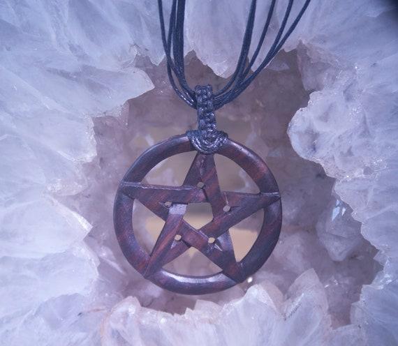 Carved Wooden Pentagram Necklace, Pentagram Necklace, Witch's Pentagram Necklace