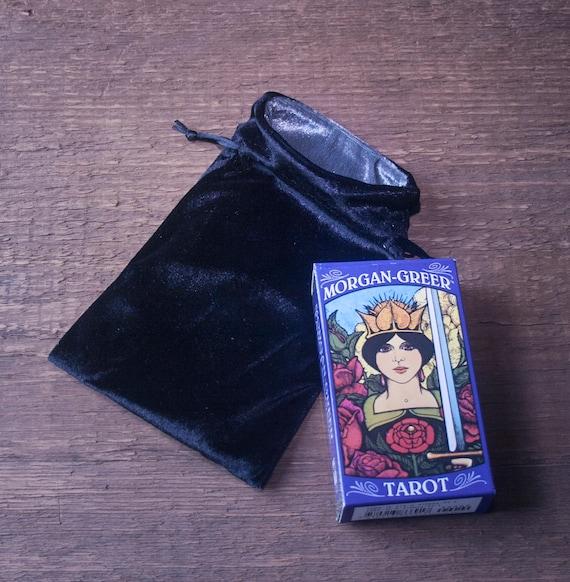 Black Velvet Tarot Pouch, Tarot Drawstring Bag, Velvet Tarot Pouch, Pouch for Tarot Cards