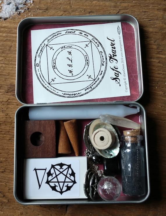 Dark Themed Travel Altar, Pocket Altar, Witchy Mini Altar, Purse Altar, Miniature Altar, Altar in a Tin, Burgundy Witchy Altar