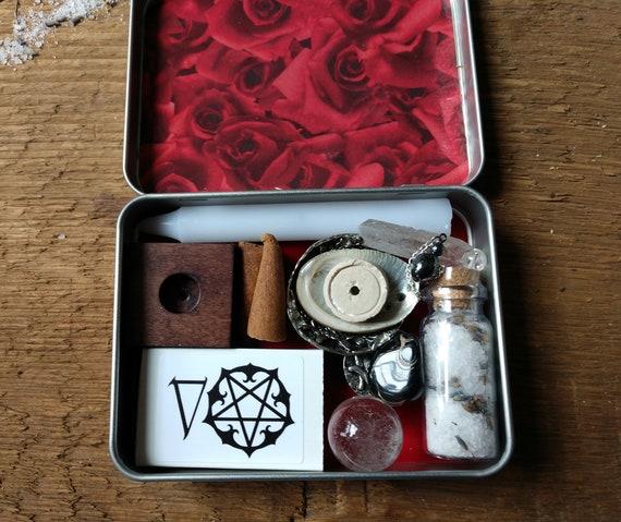 Rose Themed Travel Altar, Pocket Altar, Witchy Mini Altar, Purse Altar, Miniature Altar, Altar in a Tin, Rose Altar