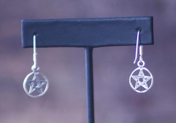 Petite Pentagram Sterling Silver Earrings, Dangle Pentacle Earrings, Sterling Silver Pentagram Earrings, Witchy Sterling Earrings