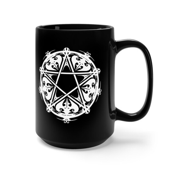 Arachne's Pentagram Mug, Pentagram Mug, Pentacle Cup, Pagan Mug, Black Pentagram Mug 15oz