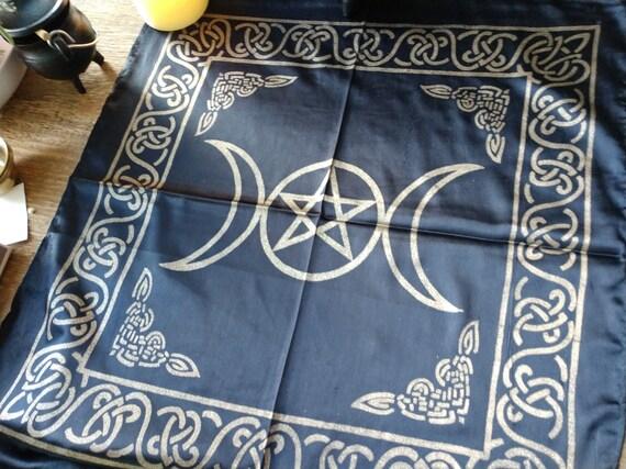 Pentagram Altar Cloth, Witches Altar Cloth, Silky Altar Cloth, Triple Moon Altar Cloth