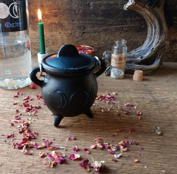 Mini Cast Iron Cauldron, Triple Moon Cauldron, Witchy Mini Cauldron, Incense Burner Cauldron, Sage Burner Cauldron, Cast Iron Burner