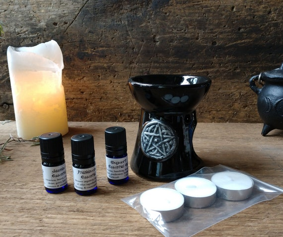 Essential Oil Diffuser Set, Set with Essential Oils, Tea Lights and Diffuser, Candle Diffuser, Witchy Oil Diffuser, Pentagram Oil Diffuser