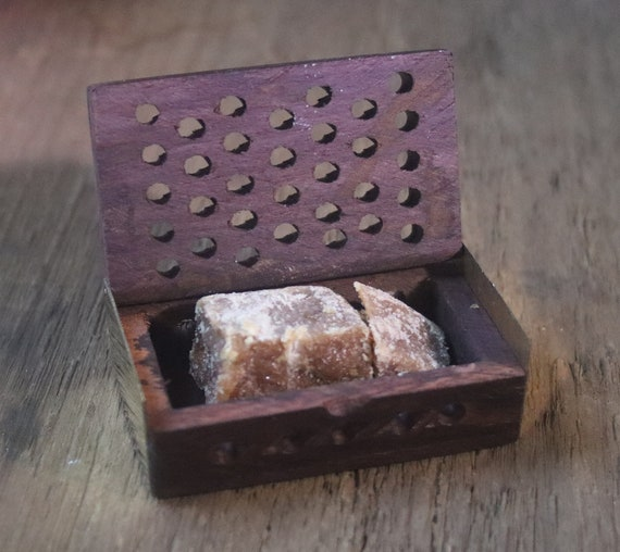 Carved Wooden Box of Amber Resin, Aromatic Amber Box, Scent Box for Amber, Wood and Brass Box with Amber Resin