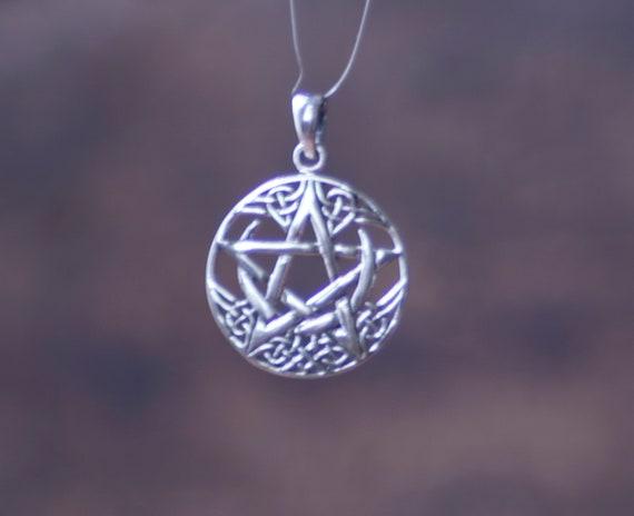 Sterling Silver Celtic Pentagram Pendant, Pentacle with Crescent Moon Pendant, Witch's Pentacle, Celtic Pentacle