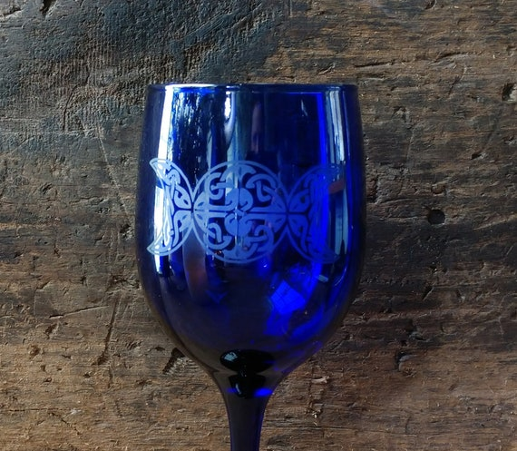 Triple Moon Chalice, Witch's Triple Moon Chalice, Blue Chalice with Etched Triple Moon, Witchy Altar Chalice