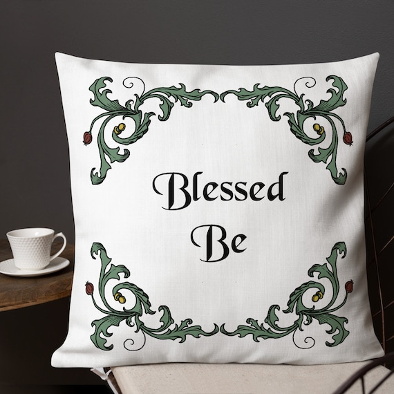 Blessed Be Toss Pillow, Witchy Home Decor, Witch's Toss Pillow, Original Art Pagan Pillow, Wiccan Decor Pillow, Unique Witch's House Wares