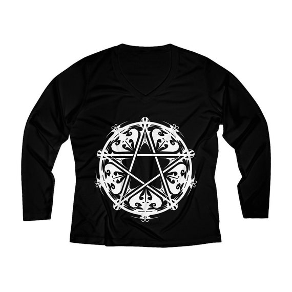 Arachne's Pentagram Tee, V-Neck Long Sleeve Pentagram Shirt, Women's Long Sleeve Pentagram Shirt