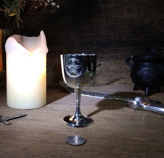 Altar Chalice, Pentagram Chalice, Silver Plated Steel Pentagram Chalice, Silver Toned Cup, Witches Glass