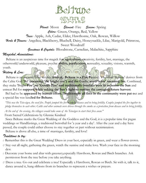 Beltane Book of Shadows Page, Grimoire Art Page, Witch's Grimoire Page for Beltane Sabbat