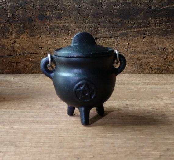 Mini Cast Iron Cauldron, Pentagram Cauldron, Witchy Mini Cauldron, Incense Burner Cauldron, Sage Burner Cauldron, Cast Iron Burner
