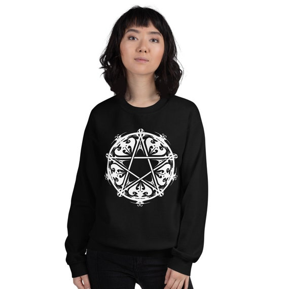 Victorian Inspired Pentagram Sweatshirt, witchy Sweatshirt, Pagan Sweatshirt, Wiccan Sweatshirt, Witchy Clothes, Pagan Clothes