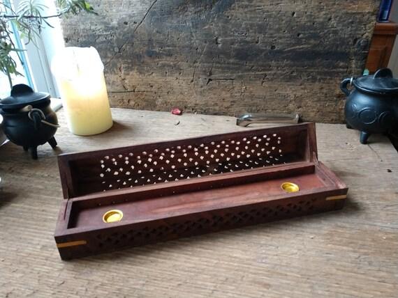 Incense Chest Burner, Incense Storage and Burner, Carved Wooden Incense Box with Burner