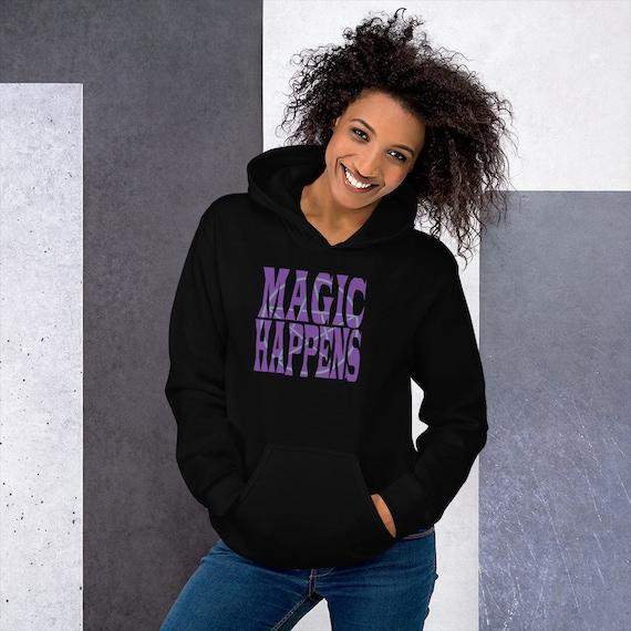 Magic Happens Hooded Pentagram Sweatshirt, Witchy Hoodie, Pagan Hoodie, Hooded Sweatshirt for Witches, Magical Sweatshirt