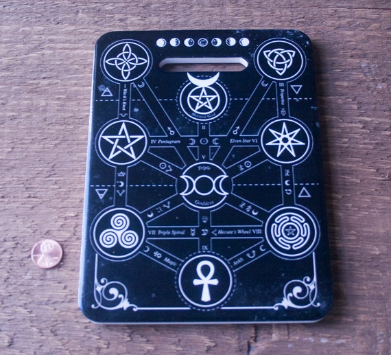 Gothic Ceramic Cutting Board, Magickal Symbols Cutting Board, Unique Witchy Kitchen, Witchy Bar Ware