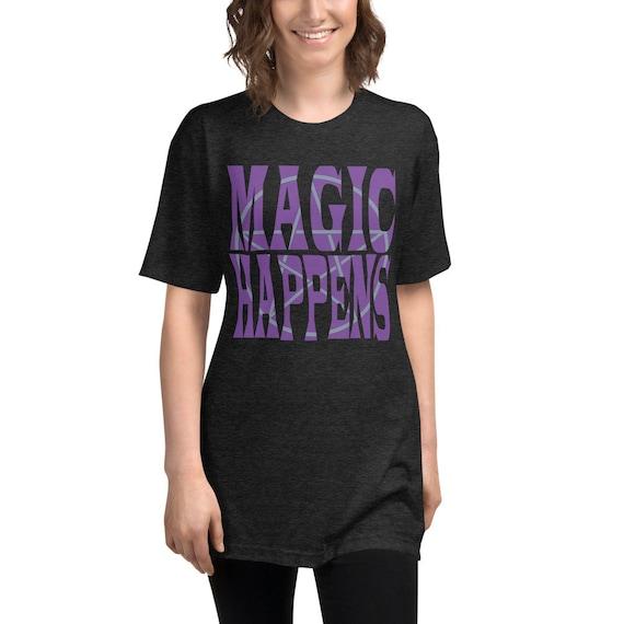 Magic Happens Pentagram Short sleeve soft black t-shirt, Retro Witchy T-Shirt, Pagan Tee, Witchy Magic Happens Tee