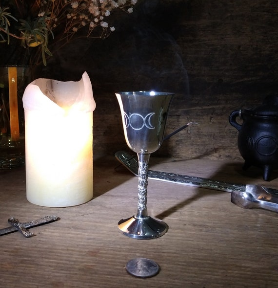 Altar Chalice, Triple Moon Chalice, Silver Plated Steel Triple Moon Chalice, Silver Toned Cup, Witches Glass