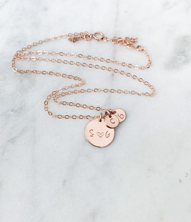 .925 Sterling Silver Family Necklace Customs Initials with 6mm disc 14K Rose Gold Filled 14k Gold Filled