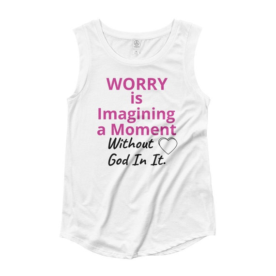 Worry is Imagining a Moment: Ladies' Cap Sleeve T-Shirt