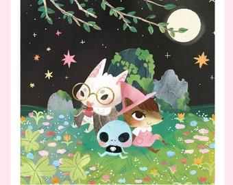 Witchy Graveyard Friends - Art Print - Bat, Skeleton, Fox